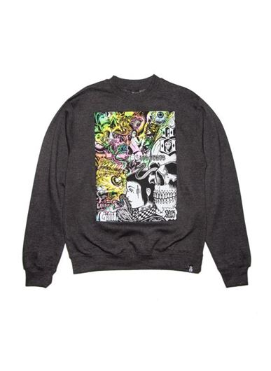 Picture of GATES OF HELL CREWNECK Heather Charcoal