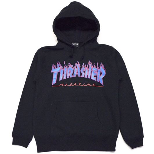 Picture of FLAME PULLOVER HOODED SWEATSHIRT Black/Blue
