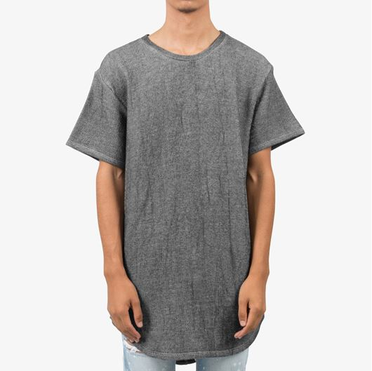 Picture of Loose Terry Scallop Tee Black