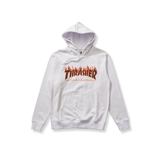 Picture of FLAME PULLOVER HOODED SWEATSHIRT White