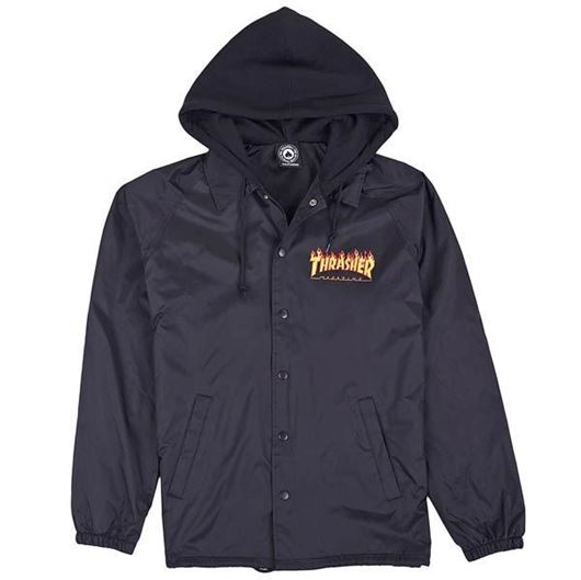 Picture of FLAME LOGO COACH JACKET W/ FLEECE HOOD Black