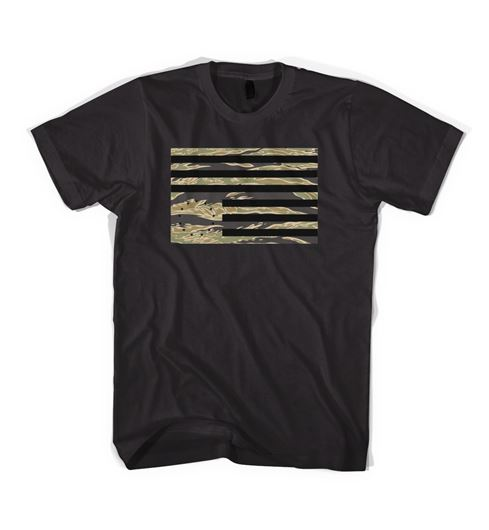 Picture of TIGER CAMO REBEL FLAG T-SHIRT Black