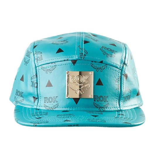 Picture of ROK LEATHER 5 PANEL STRAP BACK Teal