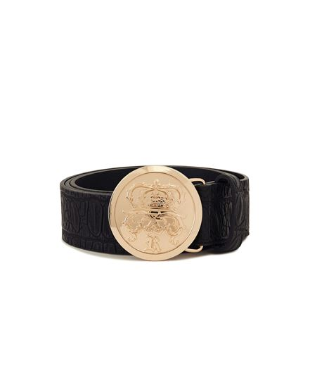 Picture of Crocodile Skin Crown Belt Gold