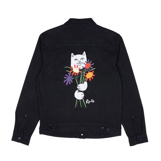 Picture of Nermcasso Flower Denim Jacket Black