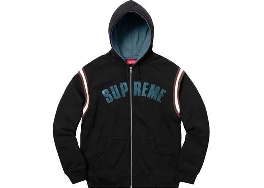 Picture of Supreme Jet Sleeve Zip Up Hooded Sweatshirt Black
