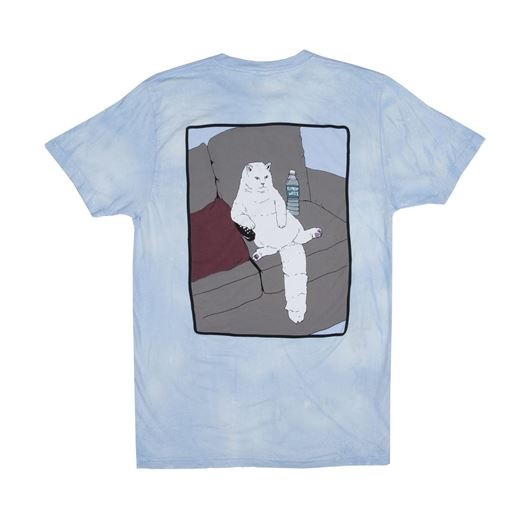 Picture of Couch Potato Tee Blue/White Mineral Wash