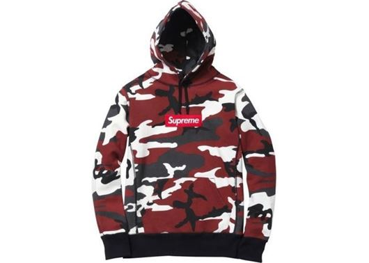 Picture of Supreme Box Logo Hooded Sweatshirt Red Camo