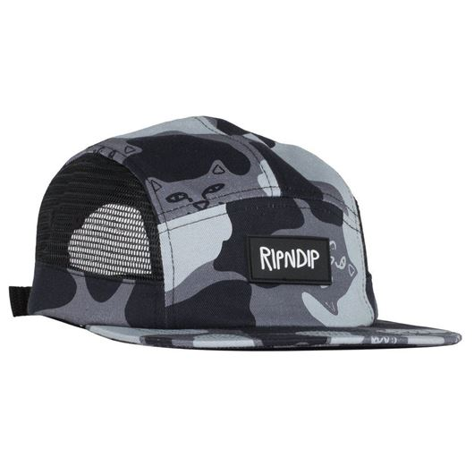 Picture of Nerm Camo 5 Panel Hat Mesh Sides Black Out Camo