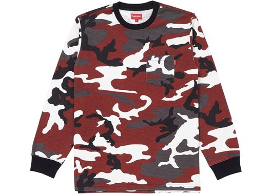 Picture of Supreme L/S Pocket Tee (FW18) Red Camo