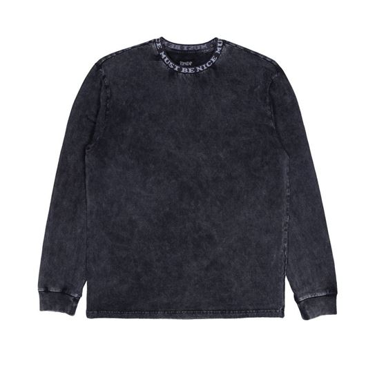 Picture of MBN Jacquard Knit LS Black Mineral Wash