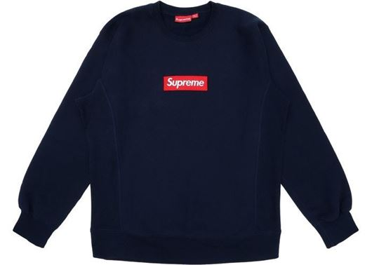 Picture of Supreme Box Logo Crewneck (FW15) Navy