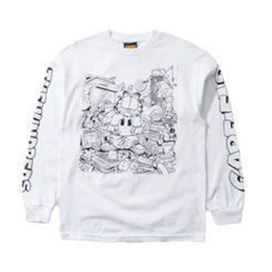 Picture of Messy Garfield L/S T-Shirt White