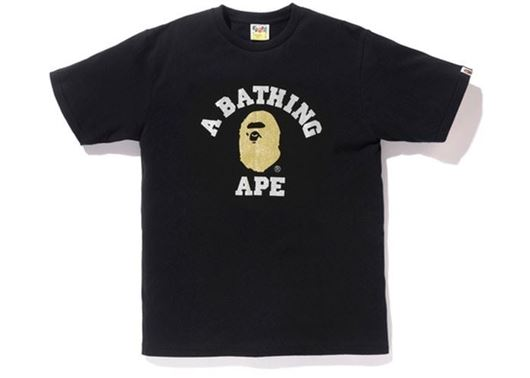 Picture of BAPE Glitter College Tee Black/Gold