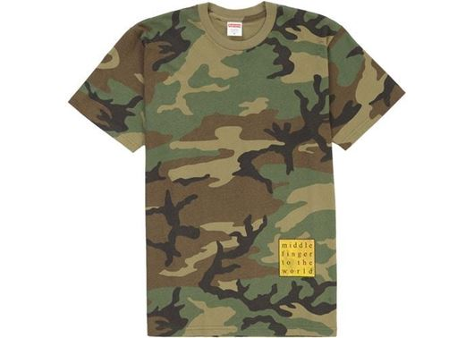 Picture of Supreme Middle Finger to the World Tee Woodland Camo