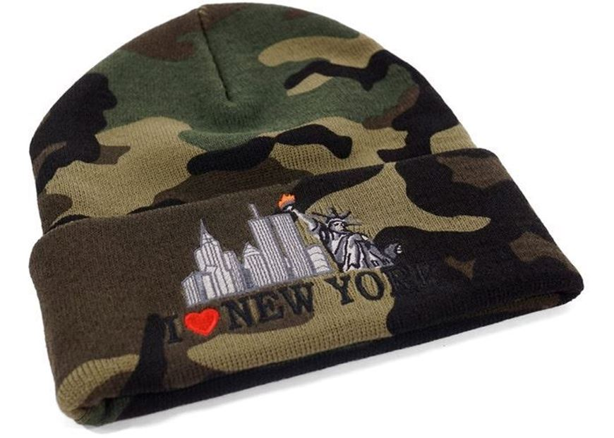 71a1ef886af Picture of Supreme I Love NY Beanie Woodland Camo