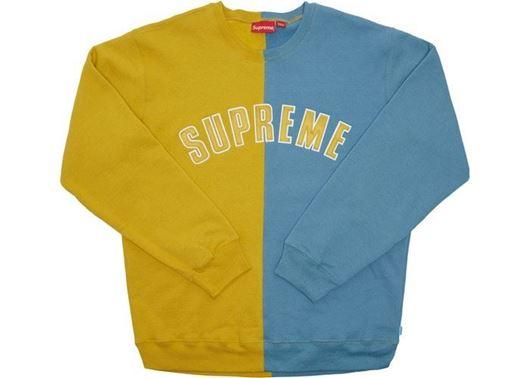 Picture of Supreme Split Crewneck Sweatshirt Mustard