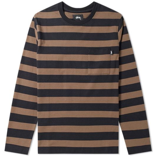 Picture of MALCOLM STRIPE LS CREW Black