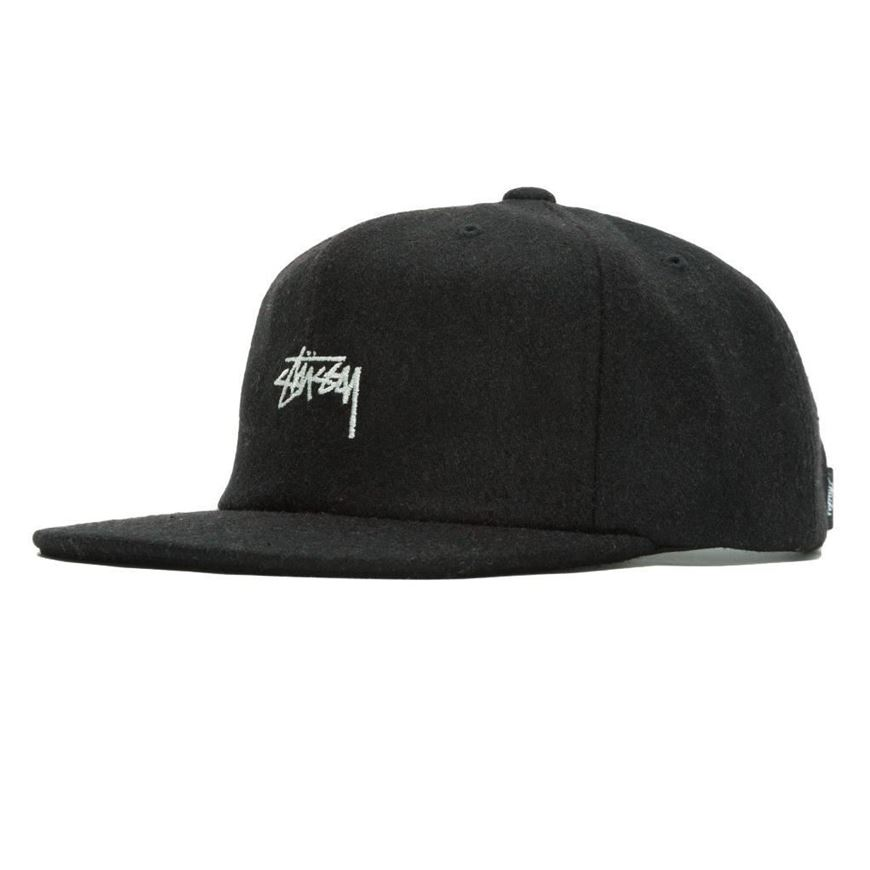 Picture of MELTON WOOL STRAPBACK CAP Black