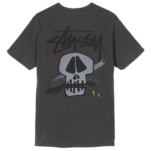 Picture of SURF SKULL PIG. DYED TEE Black