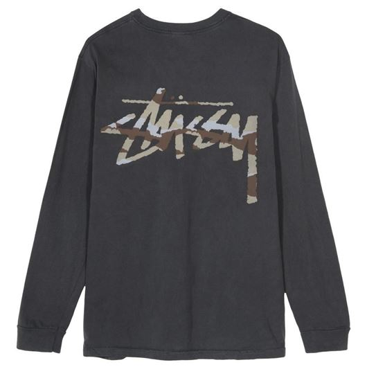 Picture of CAMO STOCK PIG DYED PKT LS TEE Black