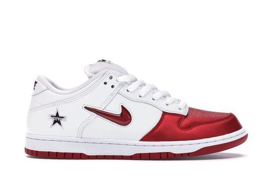 Picture of Nike SB Dunk Low Supreme Jewel Swoosh Red