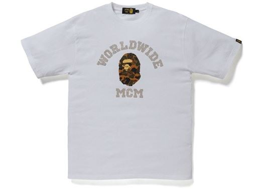 Picture of BAPE x MCM Rhinestone College Tee White