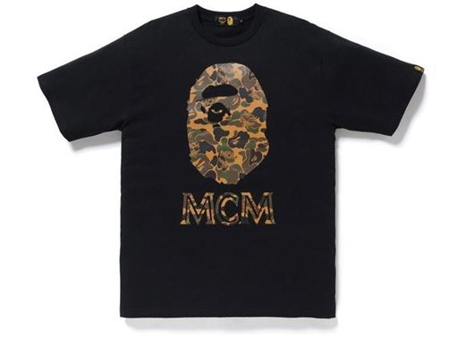 Picture of BAPE x MCM Camo Ape Head Tee Black