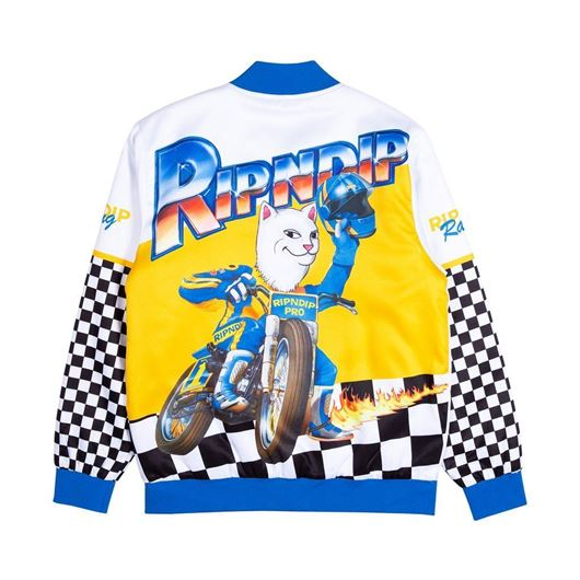 Picture of Speed Racing Poly Varsity Jacket White