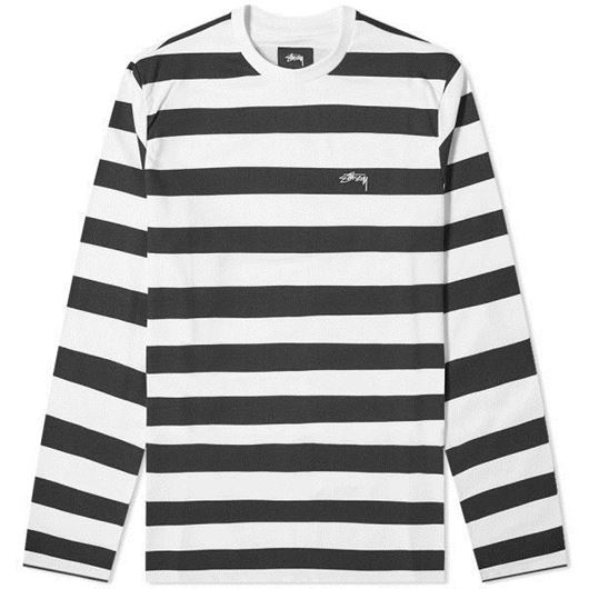 Picture of PRINTED STRIPE LS CREW Black