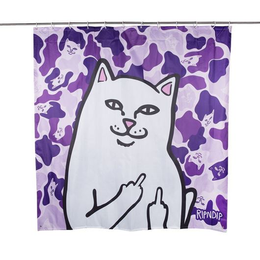 Picture of Lord Nermal Shower Curtain Purple Camo