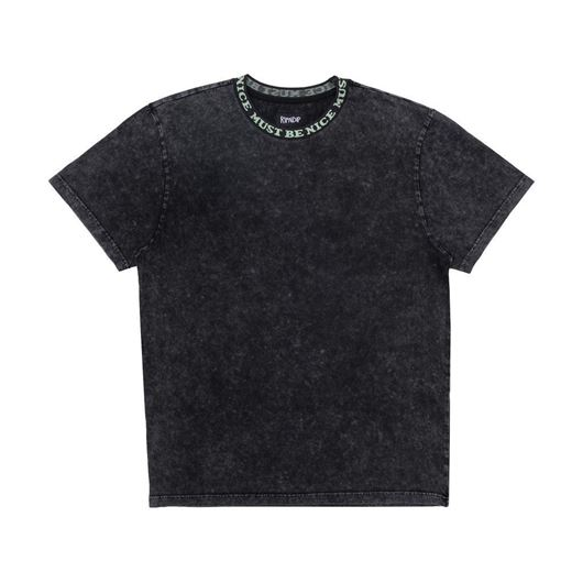 Picture of MBN Ribbed Neck Tee Black Mineral Wash