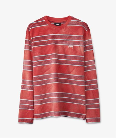 Picture of BLEACH STRIPE LS CREW Red