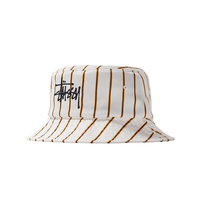 Picture of BIG LOGO STRIPED BUCKET HAT Off-white