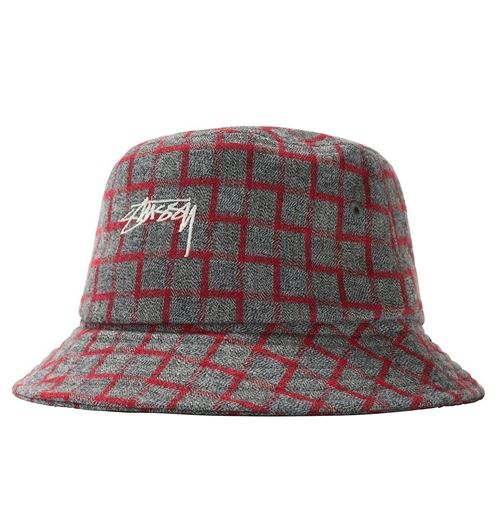 Picture of BRENT CHECK WOOL BUCKET HAT Red